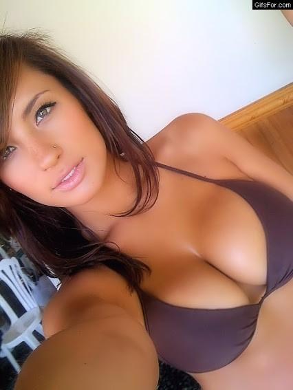 College doll with pierced nose in bikini
