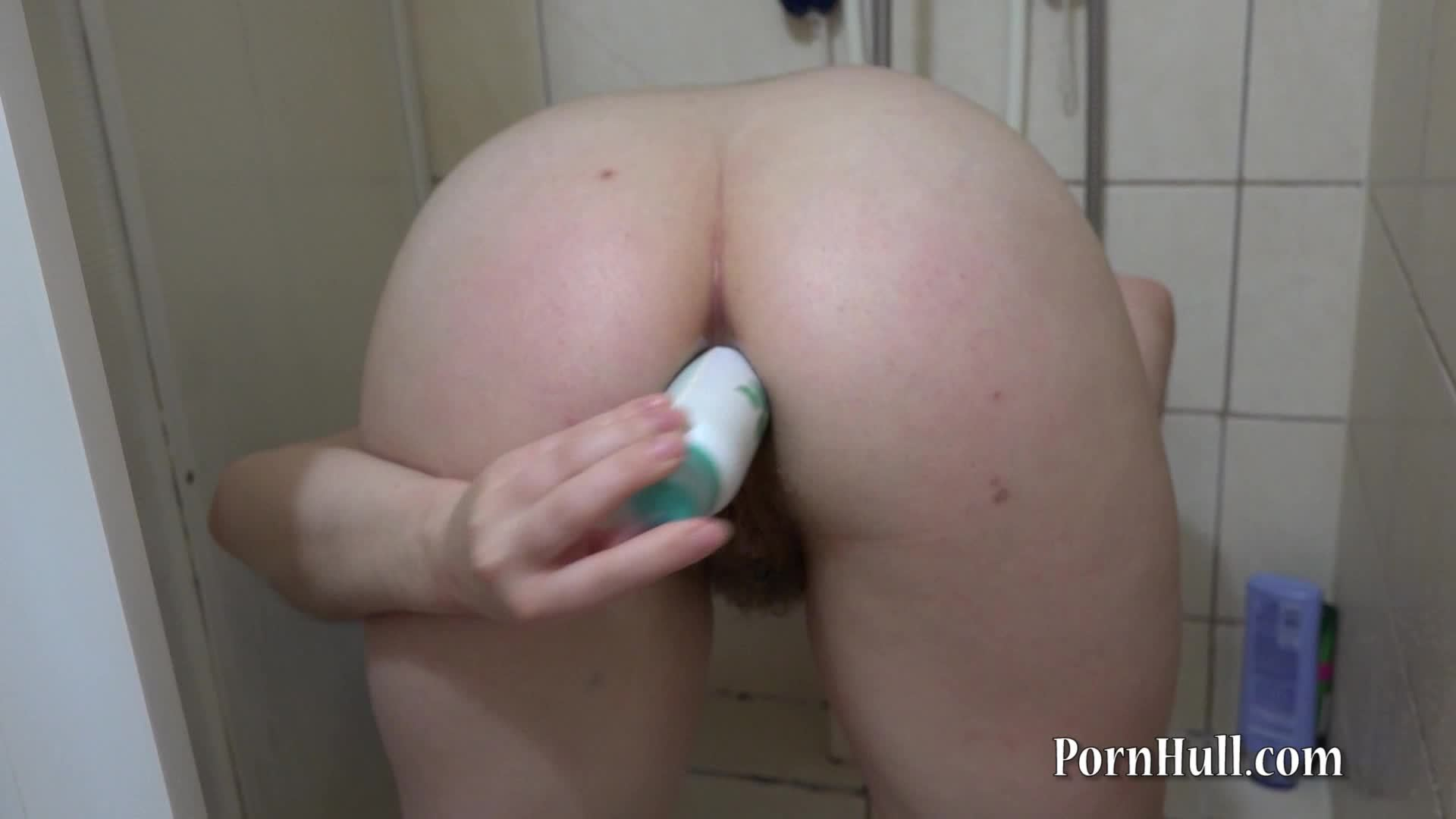 anal in the shower with a can of deodorant
